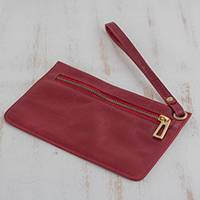Leather wristlet, 'Cherry Sophistication' - Handcrafted Leather Wristlet in Cherry from Brazil