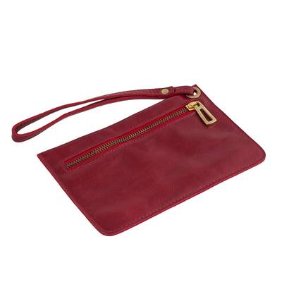 Handcrafted Leather Wristlet in Cherry from Brazil