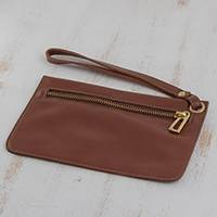 Leather wristlet, 'Chestnut Sophistication' - Handcrafted Leather Wristlet in Chestnut from Brazil