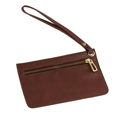 Handcrafted Leather Wristlet in Chestnut from Brazil