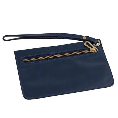 Handcrafted Leather Wristlet in Navy from Brazil