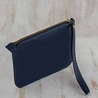 Leather wristlet, 'Trendy Fashion in Navy' - Handmade Navy Leather Wristlet from Brazil