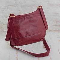 Leather messenger bag, 'Rio Adventure in Red' - Handcrafted Red Leather Messenger Bag from Brazil