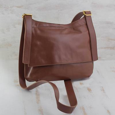 Leather messenger bag, 'Rio Adventure in Chestnut' - Handcrafted Brown Leather Messenger Bag from Brazil