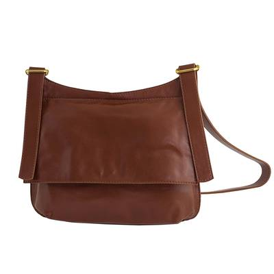 Handcrafted Brown Leather Messenger Bag from Brazil