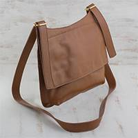 Leather messenger bag, 'Rio Adventure in Burnt Sienna' - Handcrafted Brown Leather Messenger Bag from Brazil