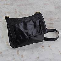 Leather messenger bag, 'Rio Adventure in Black' - Handcrafted Black Leather Messenger Bag from Brazil