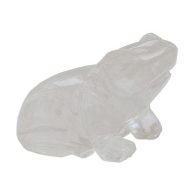 Natural Quartz Home Decor Home Decor Gift For Home White Quartz Sculpture White Quartz Frog For Gift Quartz Frog