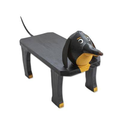 Handcrafted Wood Dog Shaped Decorative Bench from Brazil