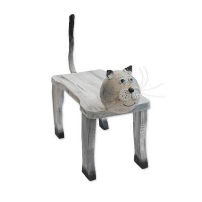 Handcrafted Wood Cat Shaped Decorative Bench from Brazil