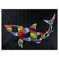 '3D Shark' - Signed Surrealist Painting of a Shark from Brazil