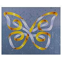 'Yellow Butterfly' - Signed Surrealist Butterfly Painting from Brazil