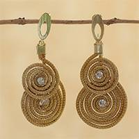 Gold plated golden grass dangle earrings, 'Spirals of Gold' - 18k Gold Plated Golden Grass Dangle Earrings from Brazil