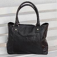 Leather shoulder bag, 'Successful Venture' - Handcrafted Black Leather Shoulder Bag from Brazil