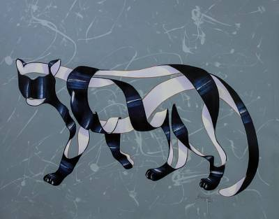 Original Surrealist Painting of a Tiger from Brazil
