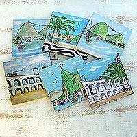 Wood coasters, 'Take Me to Rio' (set of 6) - Handcrafted Wood Magnetic Coasters from Brazil (Set of 6)