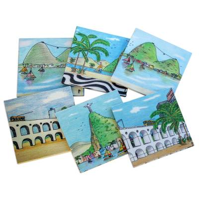 Handcrafted Wood Magnetic Coasters from Brazil (Set of 6)
