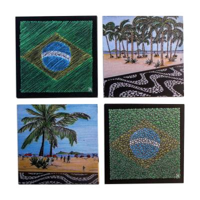 Handcrafted Wood Magnetic Coasters from Brazil (Set of 4)