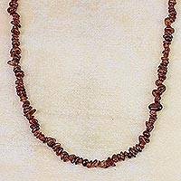Garnet beaded necklace, 'Fiery Infatuation' - Long Garnet Beaded Necklace from Brazil