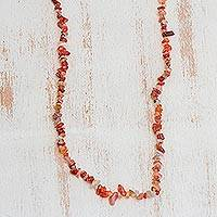 Agate beaded necklace, 'Caramel Wonder' - Long Agate Beaded Necklace Crafted in Brazil
