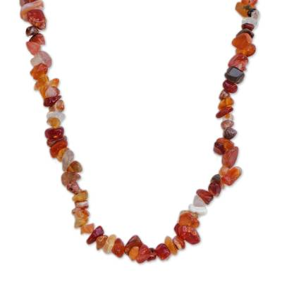 Long Agate Beaded Necklace Crafted in Brazil