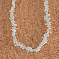 Moonstone beaded necklace, 'Lunar Elegance' - Long Moonstone Beaded Necklace Crafted in Brazil