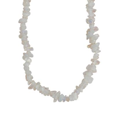 Long Moonstone Beaded Necklace Crafted in Brazil