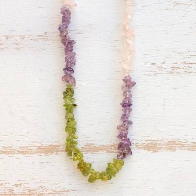 Multi-gemstone beaded necklace, 'Colorful Mists' - Long Multi-Gemstone Beaded Necklace Crafted in Brazil