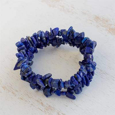 Lapis lazuli beaded stretch bracelets, 'Lapis Trio' (set of 3) - Three Lapis Lazuli Beaded Stretch Bracelets from Brazil