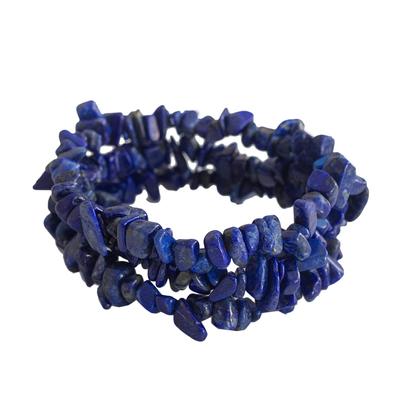 Three Lapis Lazuli Beaded Stretch Bracelets from Brazil