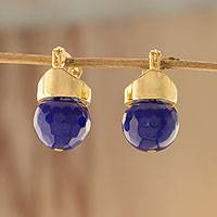 Gold plated quartz drop earrings, 'Deep Blue Acorns' - Gold Plated Blue Quartz Drop Earrings from Brazil