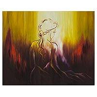 'Meditation' - Signed Expressionist Female Form Painting from Brazil