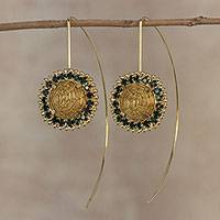 Gold plated golden grass drop earrings, 'Stellar Green' - Gold Plated Golden Grass Earrings with Green Rhinestones