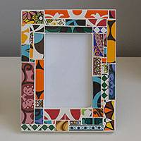 Ceramic photo frame, 'Colorful Designs' (3x5) - Photo Frame with Colorful Ceramic Tiles (3x5) from Brazil