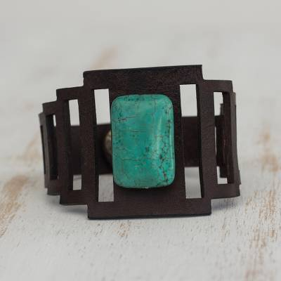 Leather wristband bracelet, 'Turquoise and Chocolate' - Leather and Reconstituted Turquoise Bracelet from Brazil