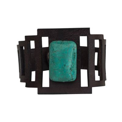 Leather and Reconstituted Turquoise Bracelet from Brazil