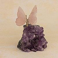 Amethyst and rose quartz figurine, 'Rosy Wings' - Rose Quartz Butterfly on Amethyst Nugget Figurine