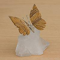 Jasper and quartz figurine, 'Earth and Wind' - Jasper Butterfly on Quartz Nugget Figurine from Brazil
