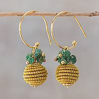 Gold plated quartz dangle earrings, 'Magnificent Gleam' - 18k Gold Plated Quartz and Golden Grass Earrings from Brazil