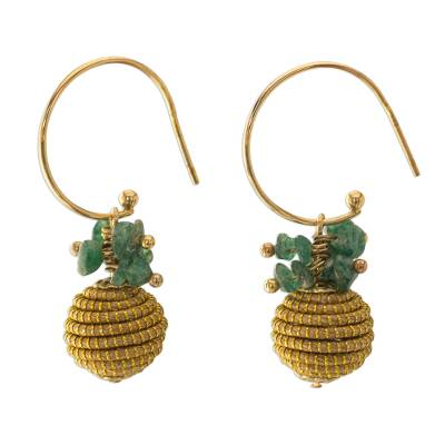 18k Gold Plated Quartz and Golden Grass Earrings from Brazil
