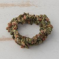 Unakite beaded stretch bracelets, 'Rosy Sage Trio' (set of 3) - Unakite Chip Beaded Stretch Bracelets from Brazil (Set of 3)