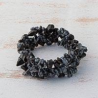Obsidian beaded stretch bracelets, 'Stormy Trio' (set of 3) - Obsidian Chip Beaded Stretch Bracelets (Set of 3)