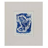 'Peace' - Signed Block Print of a Blue Dove from Brazil