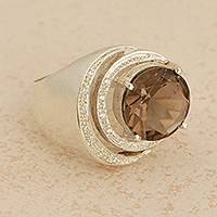 Smoky quartz cocktail ring, 'Tantalize' - 3-Carat Smoky Quartz Cocktail Ring from Brazil