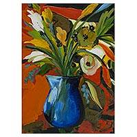 'Mexican Flowers' - Signed Still Life Painting of Flowers from Brazil