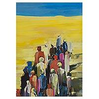 'Exodus' - Impressionist Painting of People from Brazil