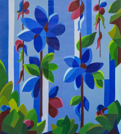 'Blue Flowers' (2018) - Signed Painting of Blue Flowers from Brazil (2018)