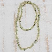 Prehnite beaded necklace, 'Sage' - Green Prehnite Beaded Necklace from Brazil