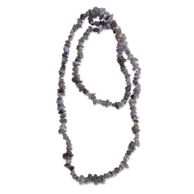 Quartz and Tourmaline Beaded Necklace from Brazil