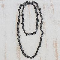 Obsidian beaded necklace, 'Stormy' - Obsidian Beaded Necklace Crafted in Brazil